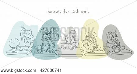 Banner With Children Sitting At The Table, Cartoon Cute Schoolchildren Characters. Back To School Co