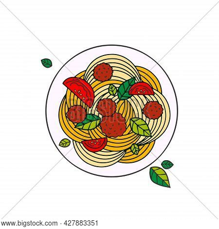 Spaghetti With Meatballs And Tomatoes. Detailed Vector Icons. Vector Food Illustration In Line Style