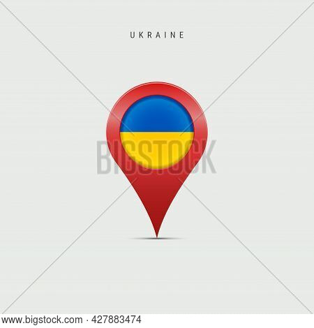 Teardrop Map Marker With Flag Of Ukraine. Ukrainian Flag Inserted In The Location Map Pin. 3d Vector