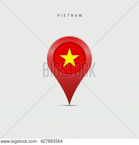 Teardrop Map Marker With Flag Of Vietnam. Vietnamese Flag Inserted In The Location Map Pin. 3d Vecto