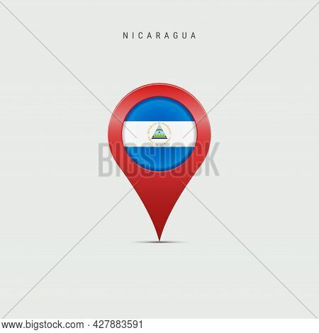 Teardrop Map Marker With Flag Of Nicaragua. Nicaraguan Flag Inserted In The Location Map Pin. 3d Vec