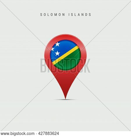 Teardrop Map Marker With Flag Of Solomon Islands. Solomon Islands Flag Inserted In The Location Map