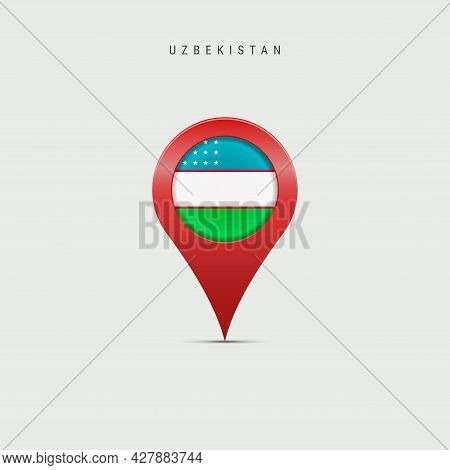 Teardrop Map Marker With Flag Of Uzbekistan. Uzbek Flag Inserted In The Location Map Pin. 3d Vector