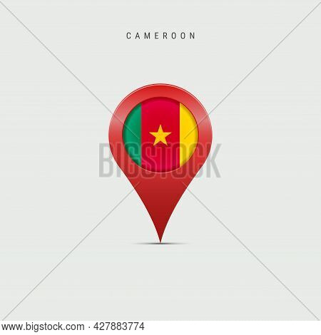 Teardrop Map Marker With Flag Of Cameroon. Cameroonian Flag Inserted In The Location Map Pin. 3d Vec