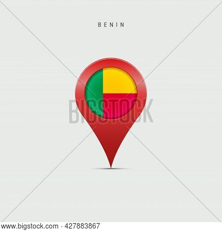 Teardrop Map Marker With Flag Of Benin. Dahomey Flag Inserted In The Location Map Pin. 3d Vector Ill