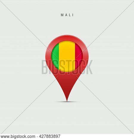 Teardrop Map Marker With Flag Of Mali. Malian Flag Inserted In The Location Map Pin. 3d Vector Illus
