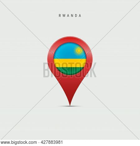 Teardrop Map Marker With Flag Of Rwanda. Rwandan Flag Inserted In The Location Map Pin. 3d Vector Il