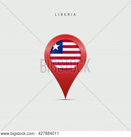 Teardrop Map Marker With Flag Of Liberia. Liberian Flag Inserted In The Location Map Pin. 3d Vector