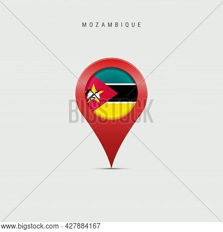 Teardrop Map Marker With Flag Of Mozambique. Mozambican Flag Inserted In The Location Map Pin. 3d Ve