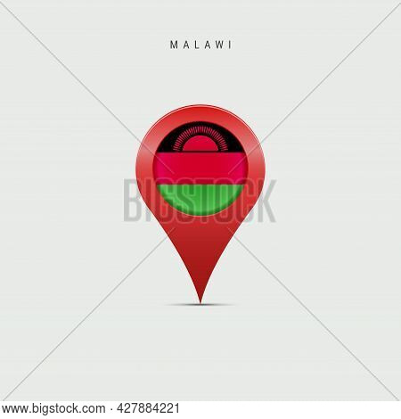 Teardrop Map Marker With Flag Of Malawi. Malawian Flag Inserted In The Location Map Pin. 3d Vector I
