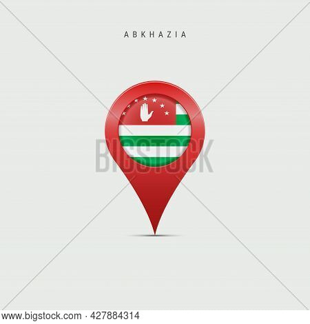 Teardrop Map Marker With Flag Of Abkhazia. Abkhazian Flag Inserted In The Location Map Pin. 3d Vecto