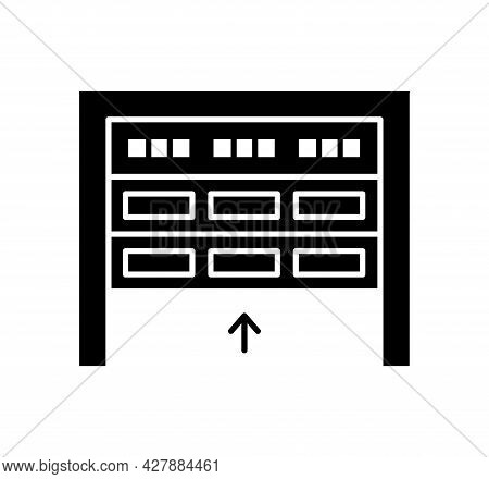 Sectional Garage Door. Black & White Vector Illustration. Flat Icon Of Warehouse Gate. Symbol For Ex