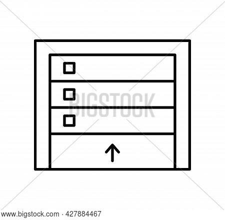 Sectional Garage Door. Black & White Vector Illustration. Line Icon Of Warehouse Gate. Symbol For Ex