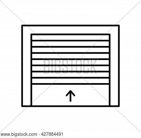 Rolling Up Garage Door. Black & White Vector Illustration. Line Icon Of Warehouse Gate. Symbol For E