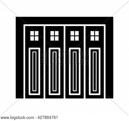 Side Sliding Sectional Garage Door. Black & White Vector Illustration. Flat Icon Of Warehouse Gate.