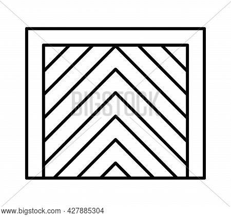Tilt Up Canopy Garage Door. Black & White Vector Illustration. Line Icon Of Closed Warehouse Gate. S