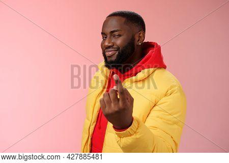 Cheeky Flirty Black Bearded Guy Asking Come Closer Beckon Index Finger Camera Smiling Make Smug Face