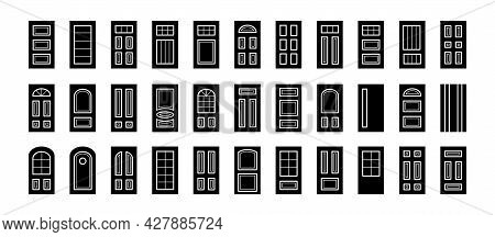 Entry Wooden Panel And Glass Doors. Interior And Exterior Architecture Elements. Front And Back Door