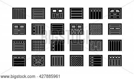Garage Doors Closed. Flat Icon Set. Various Types Of Warehouse Or Workshop Gates. Vector Illustratio