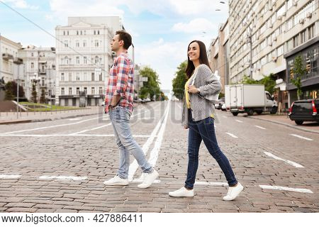 People Crossing Street. Traffic Rules And Regulations