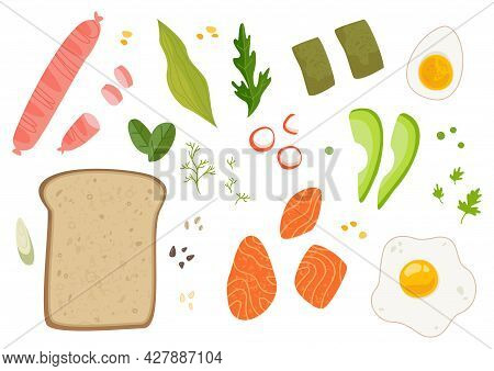 A Set Of Ingredients For Making A Sandwich. Toast And Food For Breakfast Recipe. Salmon, Sandwich, A
