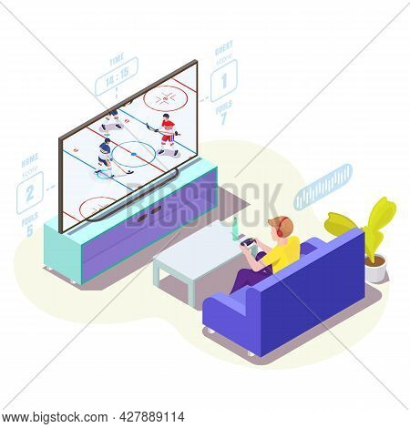 Man Gamer In Headphones Playing Ice Hockey Video Game On Tv, Vector Isometric Illustration. Online G