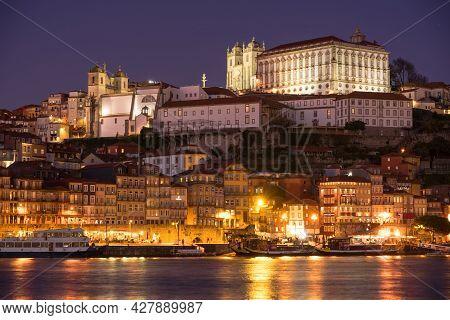 Porto, Portugal - December 01, 2019: View Of The A Ribeira And The City Of Porto Since Aldeina Nova