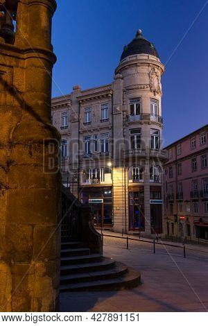 Porto, Portugal - December 02, 2019: Historic Building In The Clerigos Rue In The Old Town Of Porto