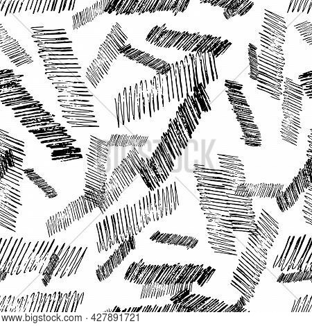 Seamless Pattern With Black Pencil Brushstrokes In Abstract Shapes On White Background. Vector Illus