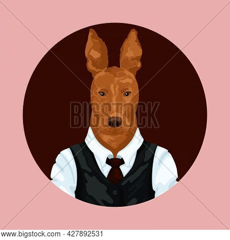 People Art Animal Dog, Character Portrait Animal In Cloth Fashion. Hipster Animal
