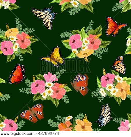 Bouquets Of Hibiscus And Daisies.bouquets Of Hibiscus, Daisies And Butterflies On A Colored Backgrou