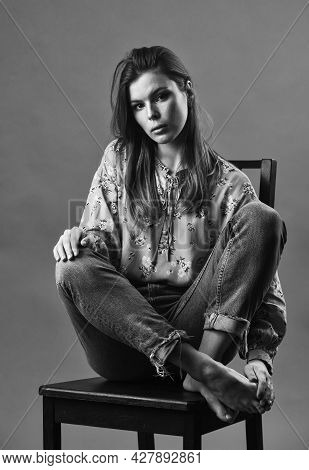 She Got Great Style. Lonely Woman Sit On Chair. Phycology. Portrait Of Woman With Beauty Face. Femal
