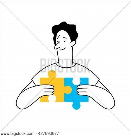 Outline Cartoon Man Connecting Puzzle Elements, Puzzle Piece. Business Idea, Solution, Problem Solvi