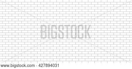 White Brick Wall. Texture For Kitchen Background. Seamless Pattern With Tile. Building Backdrop With