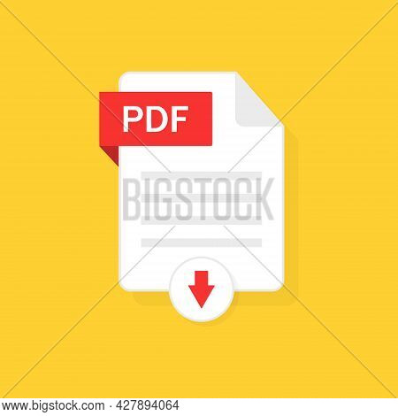 Pdf Download Icon. Pdf File With Button Of Download. Click To Upload Document. Logo For File Type. G