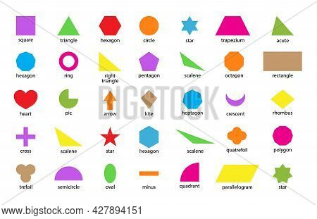 Geometric Shape. Basic Figure For Education And Toy Of Kids. Basic Geometric Shapes Such As: Triangl