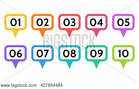 Bullet Points, Info Markers. Icon Arrow Set. Number Flags 1 To 10 Flat Design List, Button, Isolated