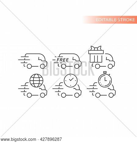 Delivery Truck Or Van Line Vector Icon Set. Fast Delivery, Speed Marks, Clock And International Ship