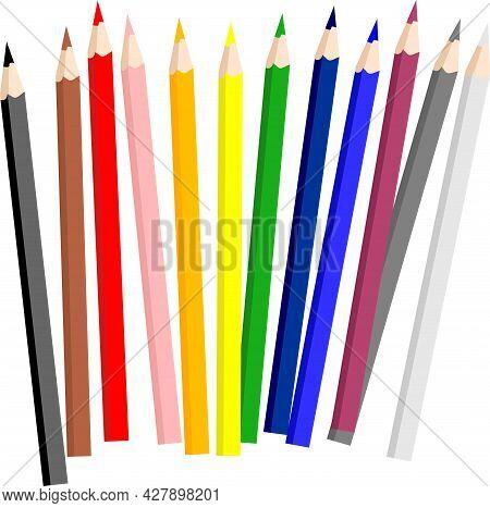 Color Pencils For Children Stationary Vector Illustration