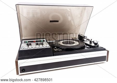 Vintage Turntable Record Player With Dust Cover Isolated On White Background.