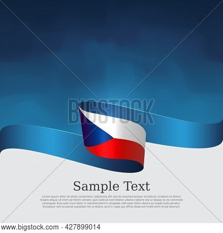 Czech Republic Flag Background. State Banner Of Czech Republic, Cover, Flyer. Wavy Ribbon On Blue Wh