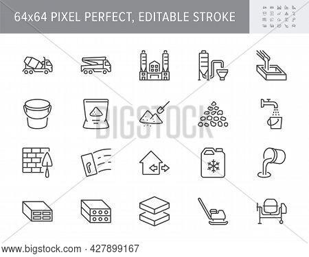 Concrete Line Icons. Vector Illustration Include Icon - Brick, Construction, Broken Stone, Spatula,