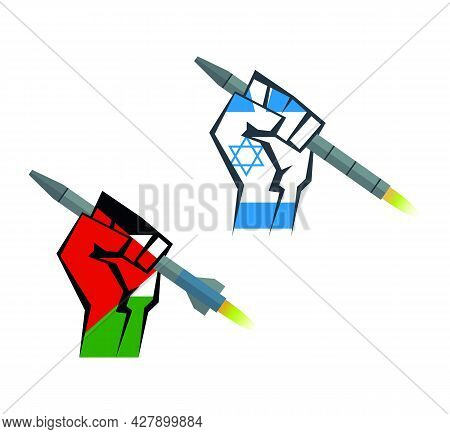 The Hand Is Holding A Rocket. Hand With Israel Flag And Palestine Flag Set. War With Palestine And I