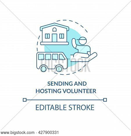 Sending And Hosting Volunteer Organisations Concept Icon. Humanitarin Aid Services For Individual Ca