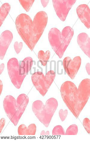 Pink Watercolor Textured Hearts Seamless Pattern On White Background. Romantic Vector Backdrop For V