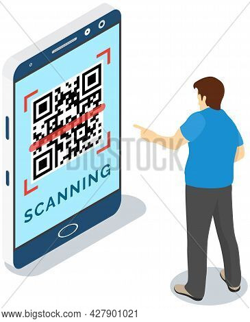 Man Uses Phone To Recognize Qr Code. Application For Scanning Barcode On Smartphone Screen. Male Cha