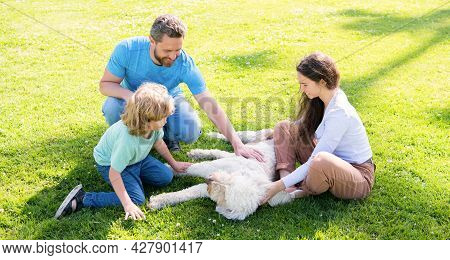 Happy Family Of Mom Father And Boy Son Playing With Pet Dog In Summer Park Green Grass, Pet Friendly