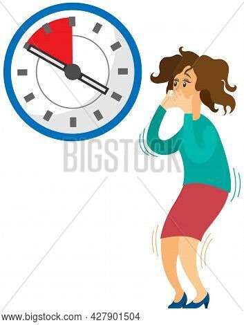Deadline Business Concept, Time Management, Fear Of Being Late. Businesswoman Is Afraid Of Time. Sca