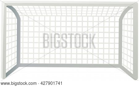 Soccer Goal Front View, Football Field Sports Equipment Vector Illustration Isolated On White. Score