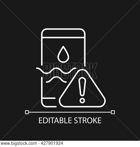 Water Damage White Linear Icon For Dark Theme. Fix Liquid Damaged Mobile Phone. Drown Device Issue.